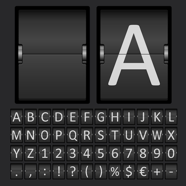 Marcador con letras y números en panel mecánico. vector gratuito