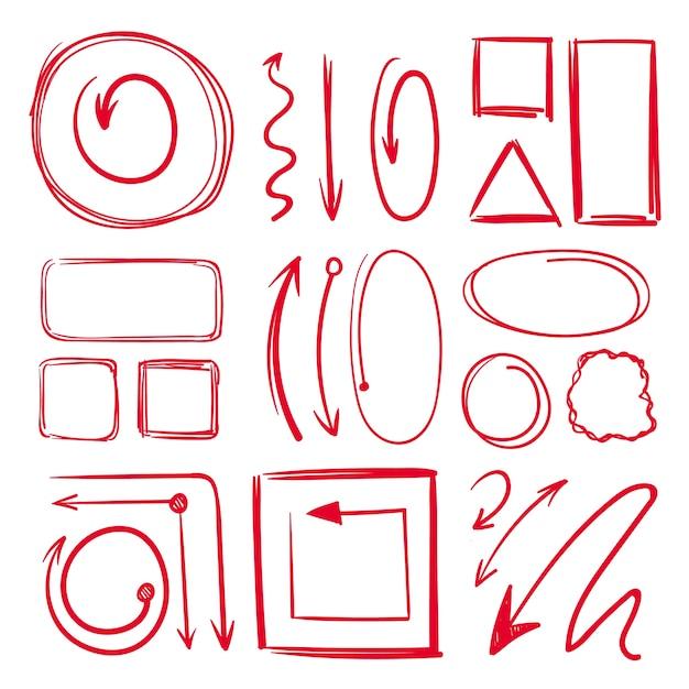 Marcador, subrayados y diferentes marcos de doodle con flechas. dibujado a mano colección marcador línea dibujo dibujo ilustración Vector Premium