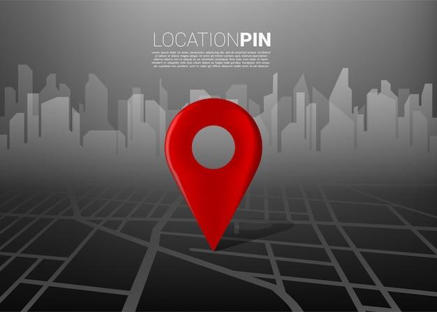 Marcador de ubicación 3d en el mapa de carreteras de la ciudad con siluetas de construcción. concepto para infografía del sistema de navegación gps. Vector Premium