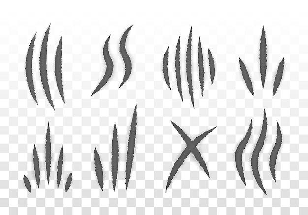 Marcas de garras de animales (gato, tigre, león, oso). conjunto de garras monstruosas, arañazos en la mano o rasgadura a través del fondo blanco. Vector Premium