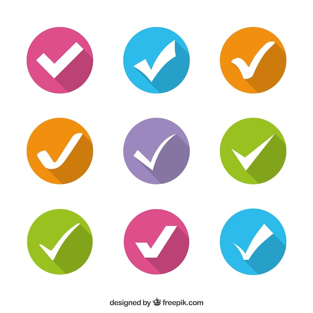 Marcas de verificación de colores Vector Premium