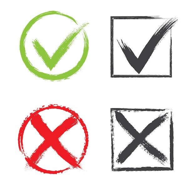 Marcas de verificación en estilo grunge Vector Premium