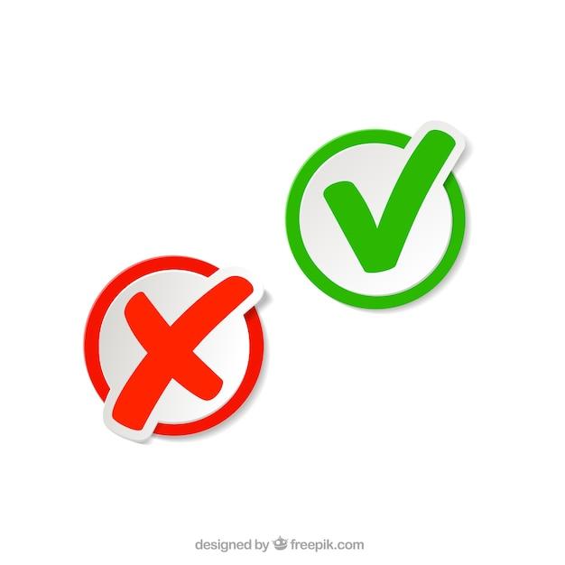 Marcas de verificación en el estilo pegatina Vector Premium