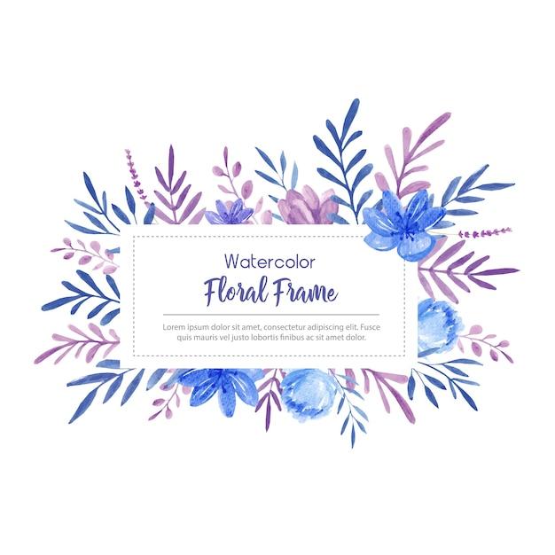 Marco De Acuarela Con Flores Azules Y Violetas Descargar Vectores
