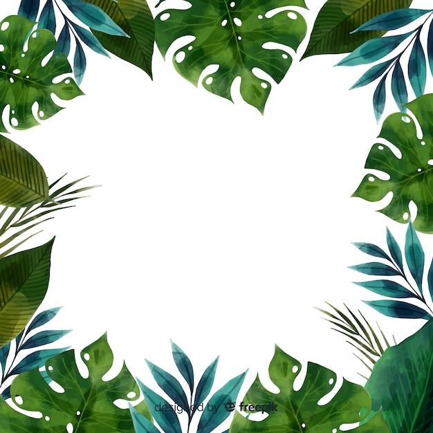 Marco acuarela de hojas y plantas vector gratuito