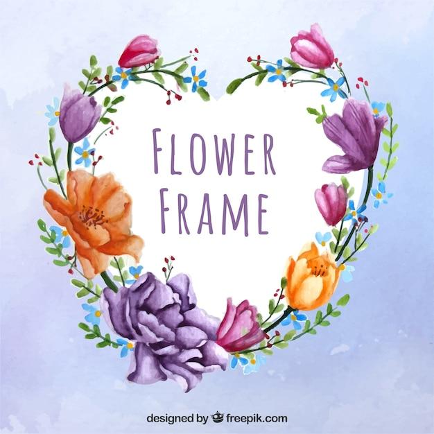 Marco adorable con flores en acuarela | Descargar Vectores gratis