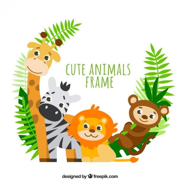 Marco de adorables animales con hojas de palmera vector gratuito