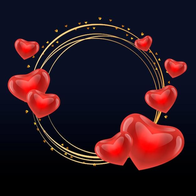 Marco de amor con corazones oro círculo vector Vector Premium