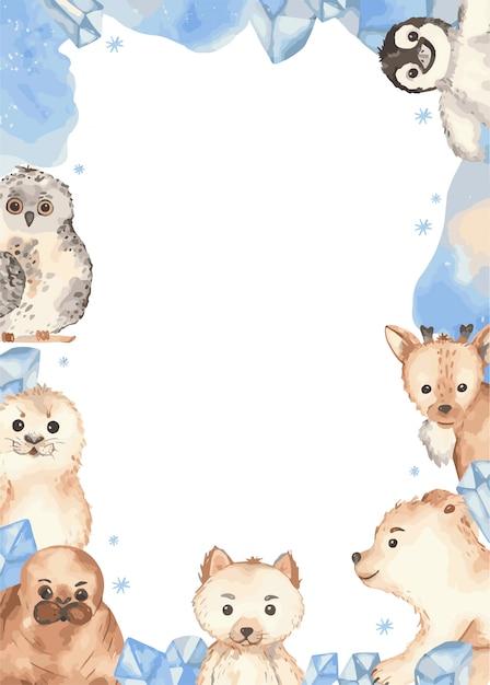 Marco animales árticos Vector Premium