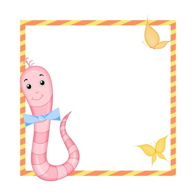 Marco con animales de dibujos animados, ilustración de animales lindos Vector Premium