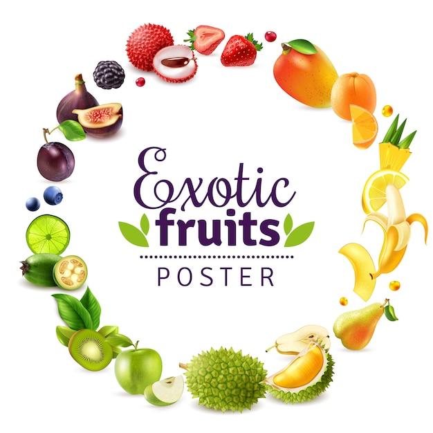 Marco de arco iris redondo de frutas exóticas vector gratuito
