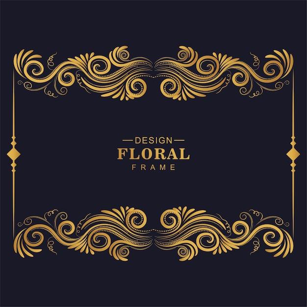 Marco artístico floral dorado vector gratuito