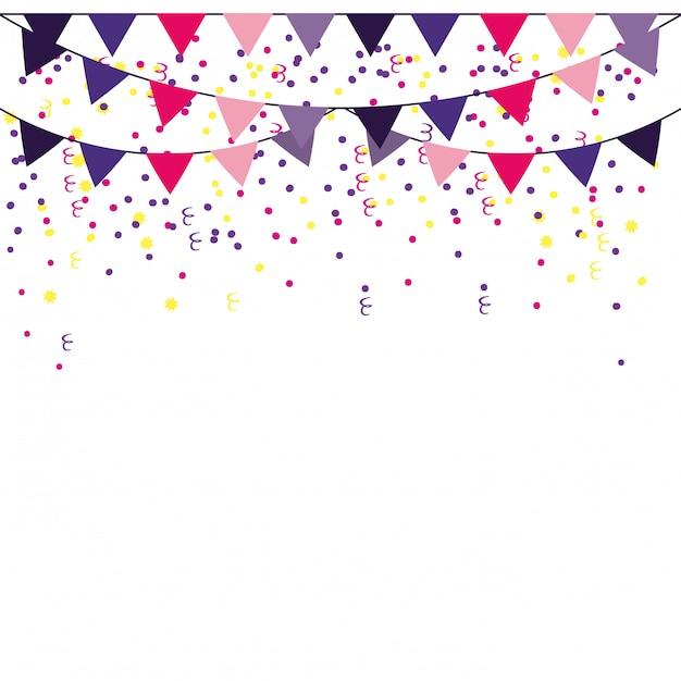 Marco de banderines de fiesta Vector Premium