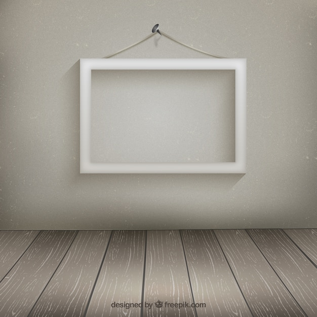 Marco blanco colgado en la pared   Descargar Vectores gratis