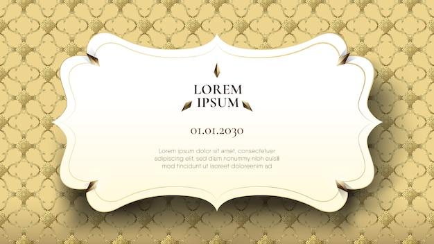 Marco blanco flotante en patrón tailandés de oro abstracto Vector Premium