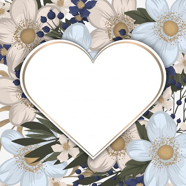 Marco blanco en forma de corazón con flores vector gratuito