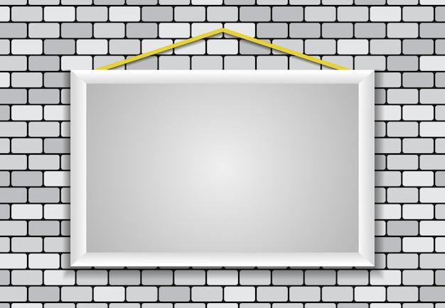 Marco en blanco, ladrillo de pared Vector Premium