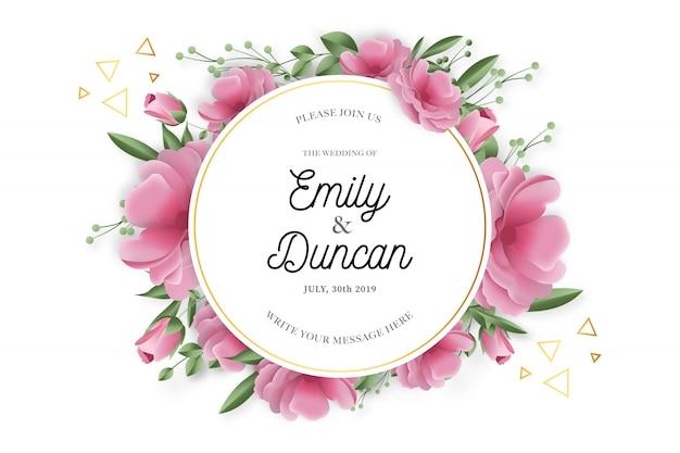 Marco de boda de belleza con flores realistas vector gratuito