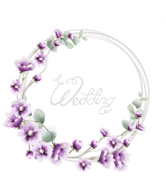 Marco de boda corona de lavanda en acuarela Vector Premium