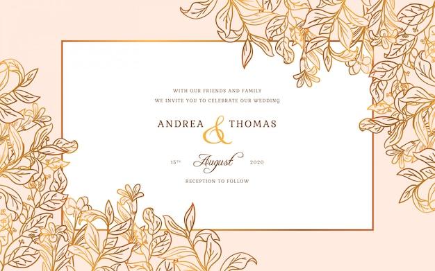 Marco de boda dorado vector gratuito