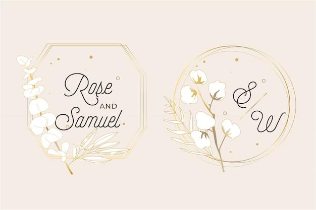Marco de boda floral vector gratuito