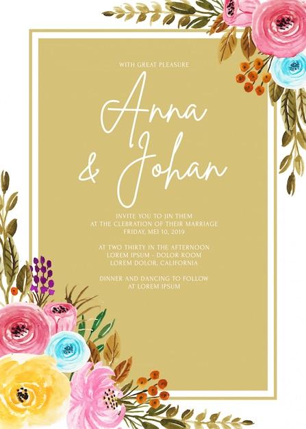 Marco boda invitación tarjeta plantilla hermosa flor acuarela Vector Premium