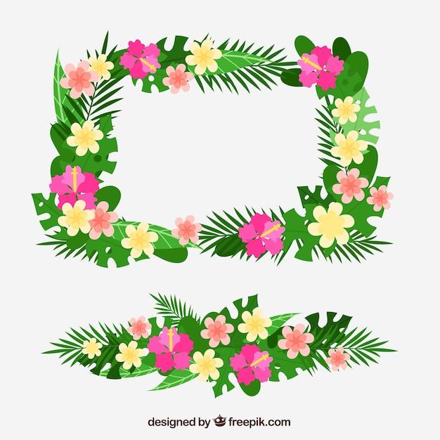 Marco de bonitas flores tropicales | Descargar Vectores gratis
