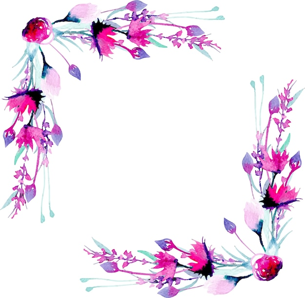 Marco de borde esquina con flores silvestres de acuarela simple rosa ...