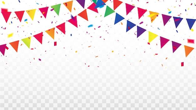 Marco de cintas de colores de confeti. tarjeta de felicitación de lujo rica. Vector Premium