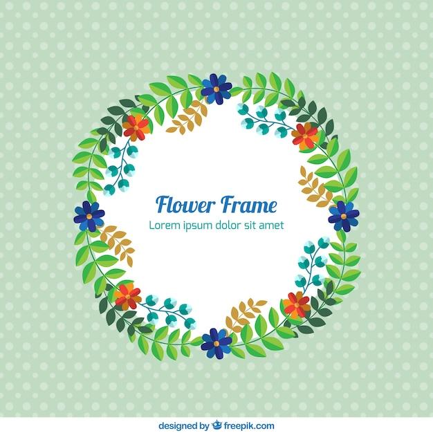 Marco circular con algunas flores | Descargar Vectores gratis