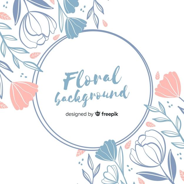 Marco circular de flores dibujado a mano vector gratuito