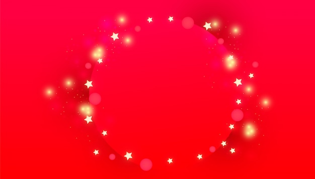 Marco de círculo navideño con luces decorativas brillantes, estrellas doradas brillantes Vector Premium