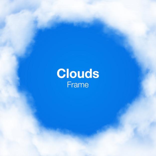Marco de círculo de nubes realistas en cielo azul. Vector Premium