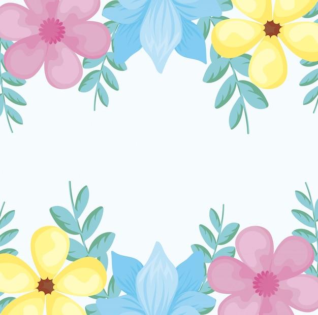 Marco colorido con hermosas flores sobre fondo blanco. Vector Premium