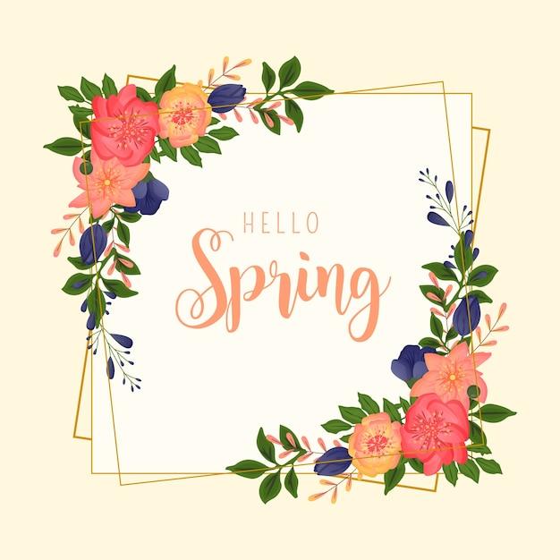 Marco colorido de primavera con diferentes flores vector gratuito