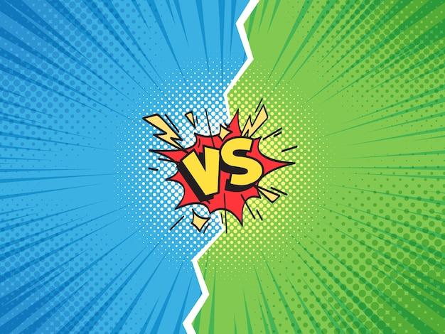 Marco cómico vs. versus duel battle o team challenge confrontation cartoon comics halftone template Vector Premium