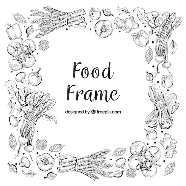 Marco de comida deliciosa con estilo de dibujo a mano Vector Premium