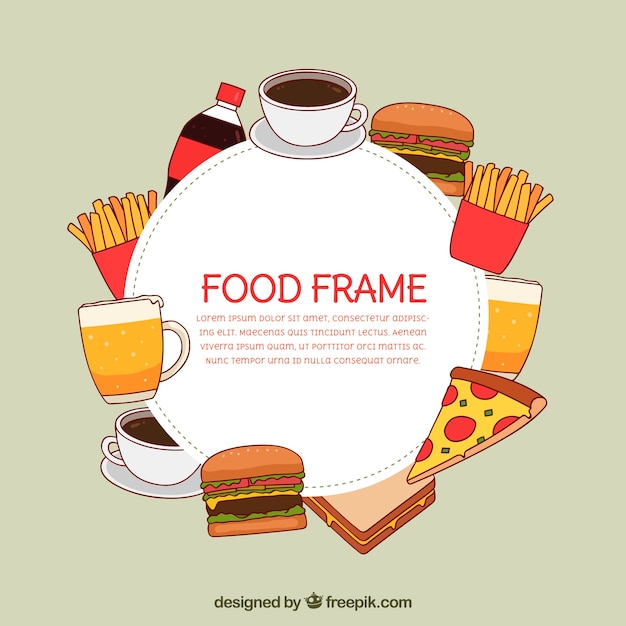 Marco de comida rápida dibujado a mano vector gratuito