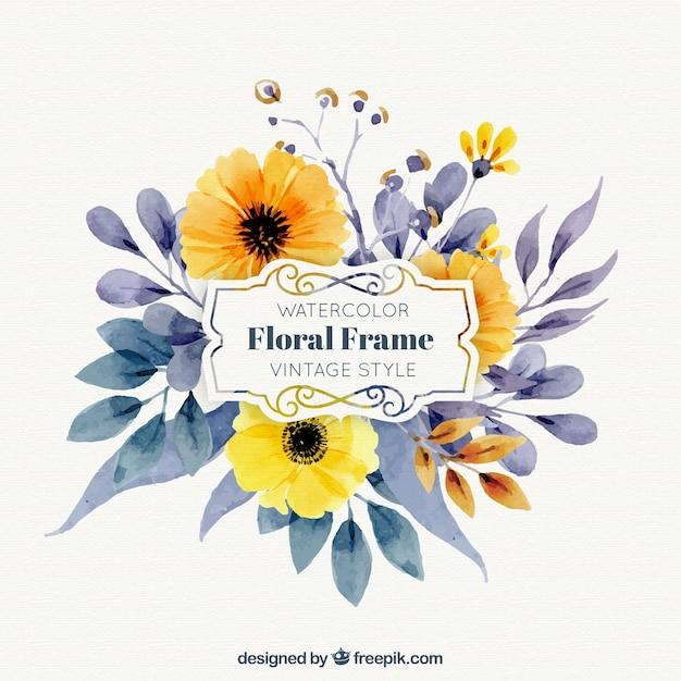Marco con flores en acuarela | Descargar Vectores gratis