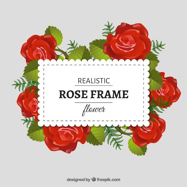 Marco con flores rojas realistas | Descargar Vectores gratis