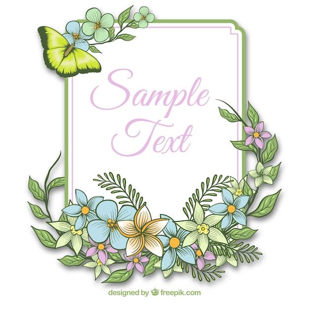 Marco con flores y mariposas | Descargar Vectores gratis