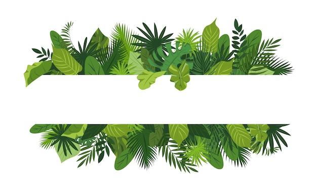 Marco de concepto de hojas tropicales, estilo de dibujos animados Vector Premium