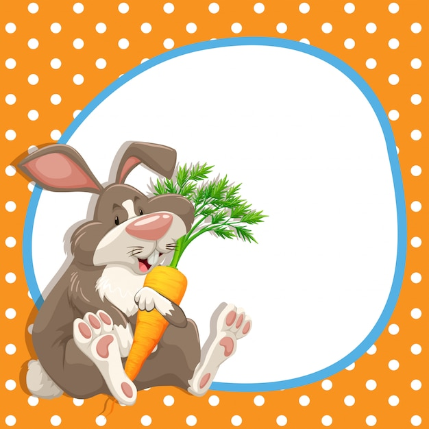 Marco con conejo y zanahoria vector gratuito