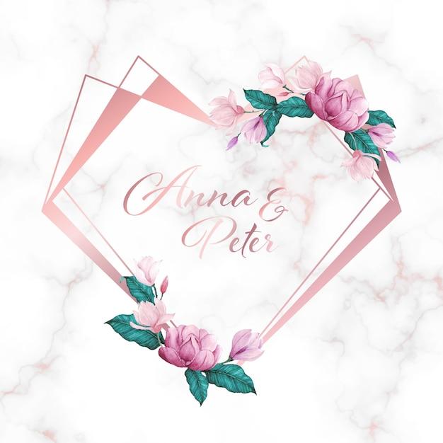 Marco de corazón con flores sobre fondo de mármol para logotipo de monograma de boda y tarjeta de invitación vector gratuito