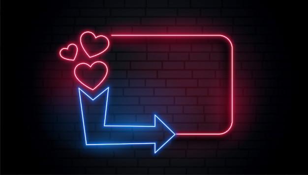 Marco de corazón de luz de neón retro con espacio de flecha y texto vector gratuito