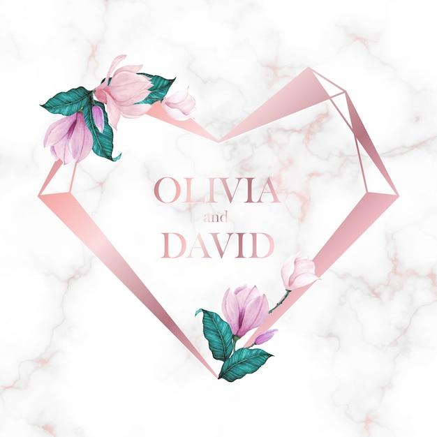 Marco de corazón de oro rosa con flor sobre fondo de mármol para logotipo de monograma de boda y tarjeta de invitación vector gratuito