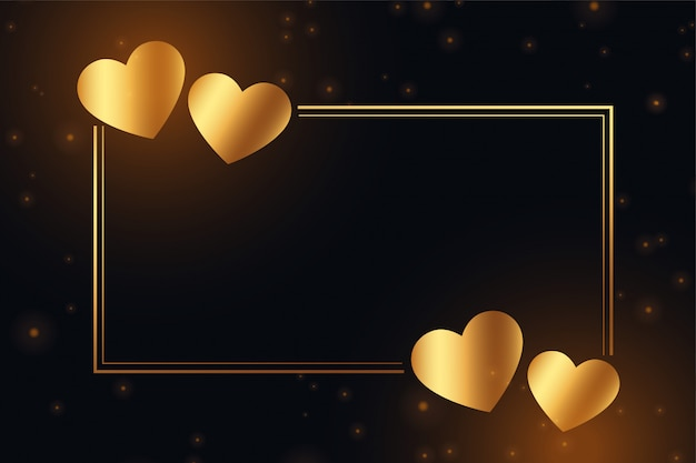 Marco de corazones dorados brillantes con espacio de texto vector gratuito