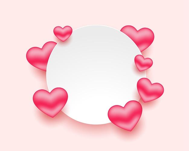 Marco de corazones románticos para el día de san valentín con espacio de texto vector gratuito