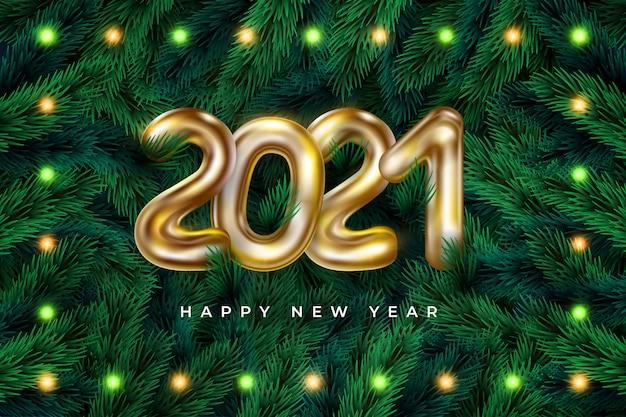 Marco de corona realista feliz año nuevo 2021 con guirnalda | Vector Premium