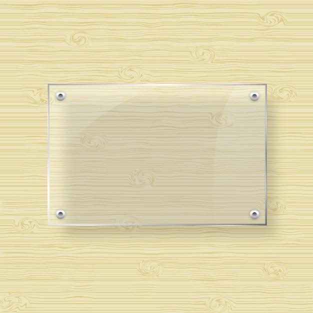 7b64506fc3 Marco de cristal en blanco sobre fondo de textura de madera | Descargar  Vectores Premium